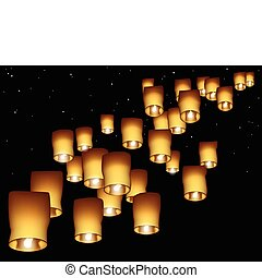 Sky lanterns - A night sky filled with floating glowing...