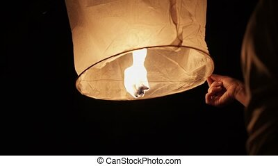 Sky lanterns at night shot