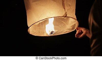 Sky lanterns at night shot