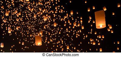Sky lanterns festival or Yi Peng festival in Chiang Mai, ...