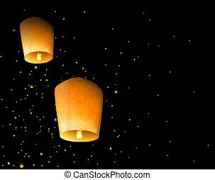 Sky lanterns - Two sky lantern in the night sky. Eps 10
