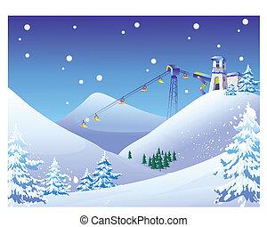 Sky Lift chairs at a snow ski resort