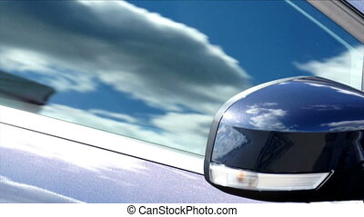 Sky mirror in car glass