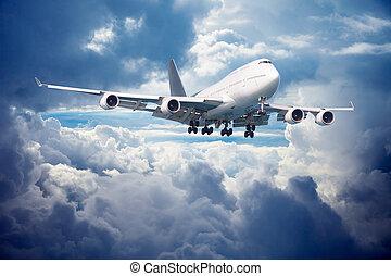 sky, molnig, flygplan, gå, mot, landing.