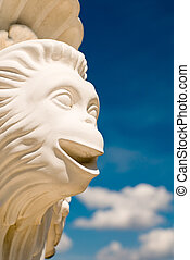 "Sky monkey - Monkey face over cloudy sky. Fragment of ""..."