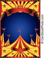 Sky night circus big top - A circus vintage poster in the...