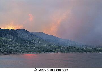 sky obsured by wildfire smoke - heavy smoke from High Park ...