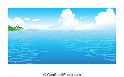 sky, ocean, fördunklat