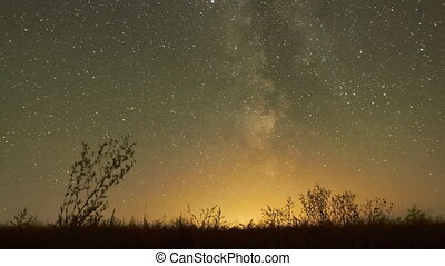 Sky of stars Milky Way glow - Night sky of stars time-lapse...