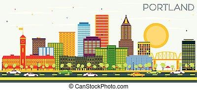sky., oregon, colorare, città costruzioni, orizzonte, portland, blu