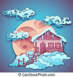 sky., origamy, nuit, illustration, lune, vecteur, maison