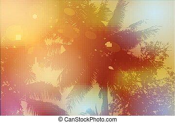 Sky, palm trees, sunset, sun glare. Vector