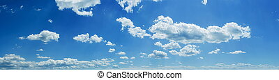 Sky panorama - Wide sky panorama with scattered cumulus...