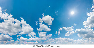 Sky panorama wit shining sun - Cloudy sky panorama with ...