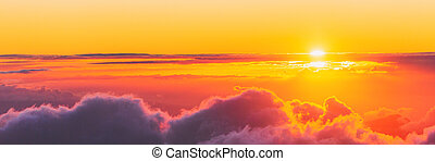 Sky panoramic background plane or top of mountain view at sunset of dusk above the clouds banner.
