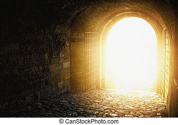 sky., porte, fin, arqué, ouvert, tunnel., heaven`s, heaven., passage, lumière