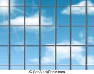 Sky reflection in the skyscraper wall