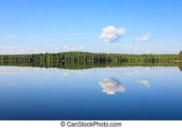 Sky reflects from lake at summer day