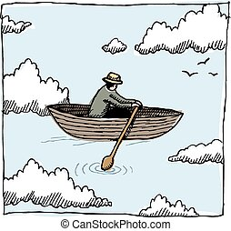 Sky rower - A whimsical graphic of a figure rowing a boat...