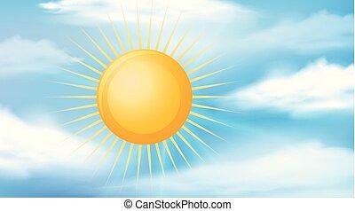 Sky scene with bright sun