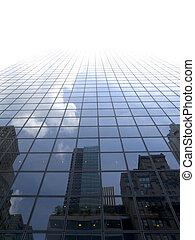 High modern skyscraper on a background of a bright sky.