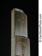Sky Scraper in Downtown Miami at Night
