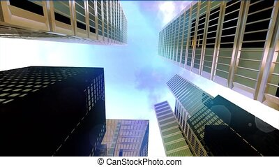 Sky scraper skyscraper city tall buildings dolly time lapse...