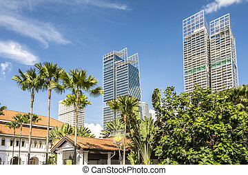 sky scrapers and colonial buildings - Modern glass sky ...
