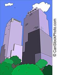 sky-scrapers - sky scrapers in big city