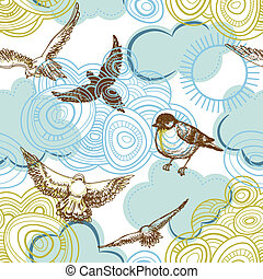 Sky seamless pattern, birds and clouds