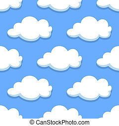 Sky seamless pattern with white clouds