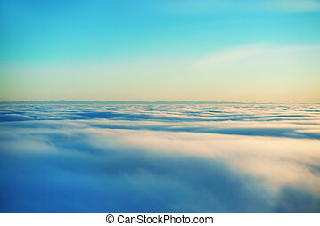 sky, solnedgång, sol, och, skyn