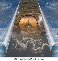 Sky splits open showing man on spiritual journey
