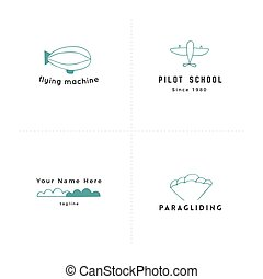 Sky sports colored vector elements. Set of hand drawn logo templates.
