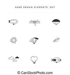 Sky sports. Set of vector hand drawn logo elements.
