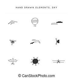 Sky sports theme. Set of hand drawn vector logo elements.
