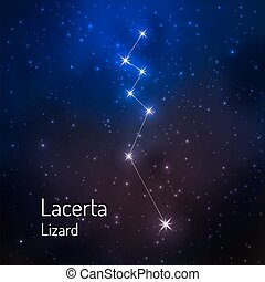 sky., starry, illustratie, vector, nacht, constellatie