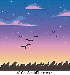 sky sunset flying birds clouds foliage nature background
