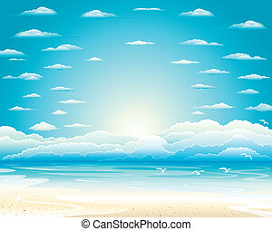 Sky - The sky over the sea gulls flying over which we in the...