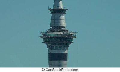 Sky Tower and Auckland CBD Skyline New Zealand.It's the...