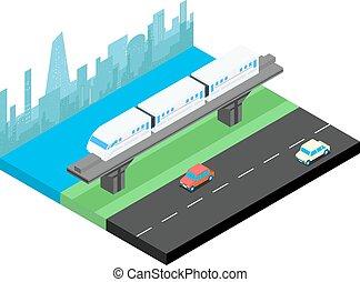 Sky train and city skyline isometric illustration