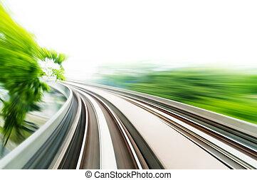 Sky Train - Motion blurred on speeding sky train.