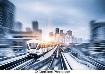 Sky train through the city center in Kuala Lumpur,motion...