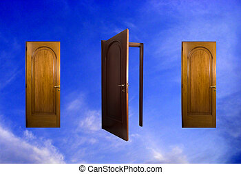sky, tre, dörrar