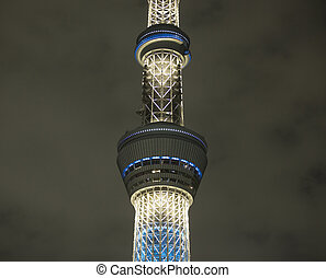 sky tree tokyo tower at night
