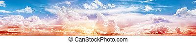 Sky ultramarine rainbow art panorama. Summer sunrise