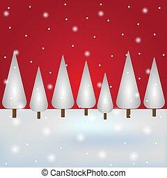 sky., vacanza, cartolina, vettore, rosso, nevoso, foresta, ...