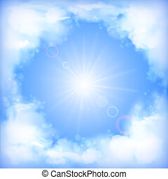 Sky vector design, white clouds, sun, blur