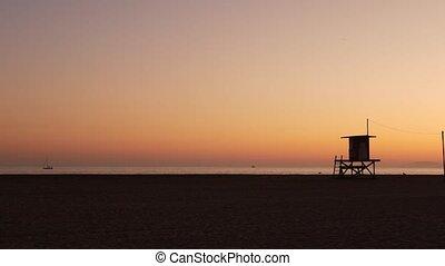 sky., voyage, silhouette, californie, pacifique, bois, ...