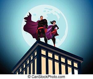 sky., wektor, superhero, samiec, pochmurny, samica, para., ilustracja, superheroes.
